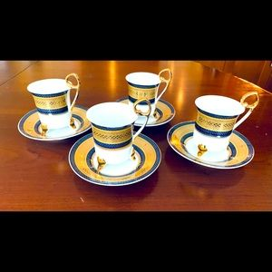 24 CT Gold plated Porcelain Coffee Cups & Saucers